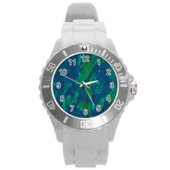 Green and blue design Round Plastic Sport Watch (L)