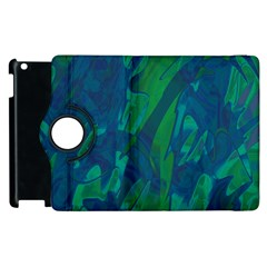 Green and blue design Apple iPad 3/4 Flip 360 Case