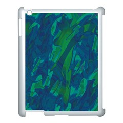 Green and blue design Apple iPad 3/4 Case (White)