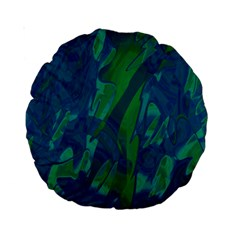 Green and blue design Standard 15  Premium Round Cushions