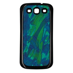 Green and blue design Samsung Galaxy S3 Back Case (Black)