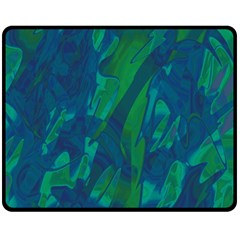 Green and blue design Double Sided Fleece Blanket (Medium)