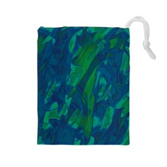Green and blue design Drawstring Pouches (Large)