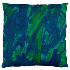 Green and blue design Large Flano Cushion Case (Two Sides)