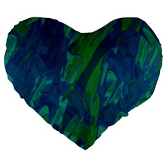 Green and blue design Large 19  Premium Flano Heart Shape Cushions
