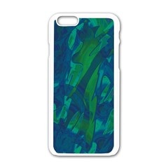 Green and blue design Apple iPhone 6/6S White Enamel Case