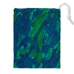 Green and blue design Drawstring Pouches (XXL)