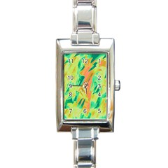 Green and orange abstraction Rectangle Italian Charm Watch