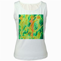 Green and orange abstraction Women s White Tank Top