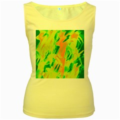 Green and orange abstraction Women s Yellow Tank Top