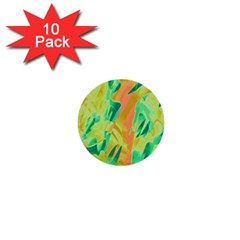 Green and orange abstraction 1  Mini Buttons (10 pack)
