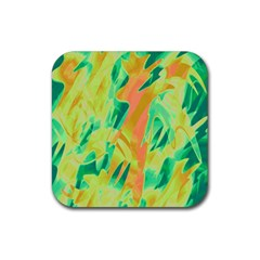 Green and orange abstraction Rubber Coaster (Square)