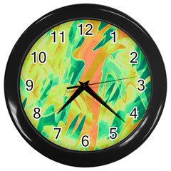 Green and orange abstraction Wall Clocks (Black)