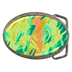 Green And Orange Abstraction Belt Buckles