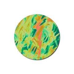Green and orange abstraction Rubber Round Coaster (4 pack)