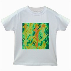 Green and orange abstraction Kids White T-Shirts