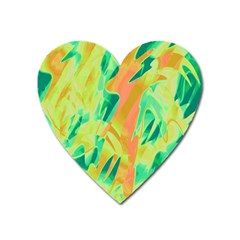 Green and orange abstraction Heart Magnet