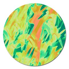 Green and orange abstraction Magnet 5  (Round)