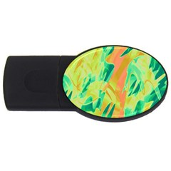 Green and orange abstraction USB Flash Drive Oval (2 GB)