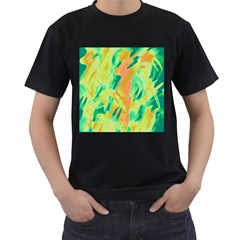 Green and orange abstraction Men s T-Shirt (Black) (Two Sided)