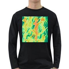 Green and orange abstraction Long Sleeve Dark T-Shirts