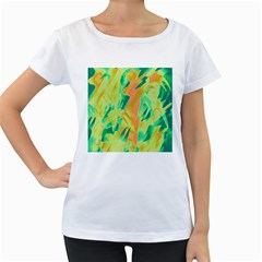 Green and orange abstraction Women s Loose-Fit T-Shirt (White)