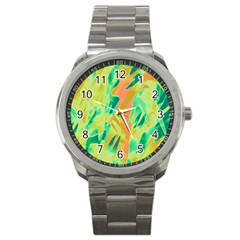 Green and orange abstraction Sport Metal Watch