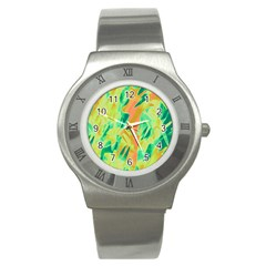 Green and orange abstraction Stainless Steel Watch