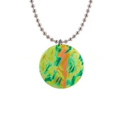 Green and orange abstraction Button Necklaces