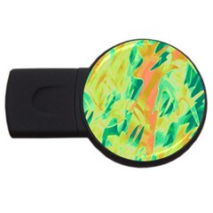 Green and orange abstraction USB Flash Drive Round (4 GB)
