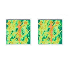 Green and orange abstraction Cufflinks (Square)