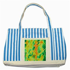 Green and orange abstraction Striped Blue Tote Bag