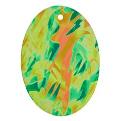 Green and orange abstraction Oval Ornament (Two Sides)