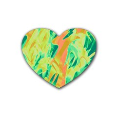 Green and orange abstraction Heart Coaster (4 pack)