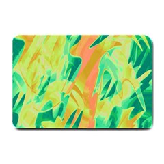 Green and orange abstraction Small Doormat