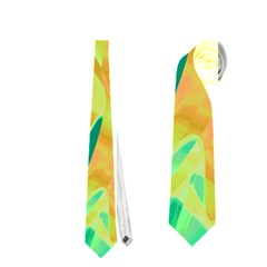 Green and orange abstraction Neckties (One Side)