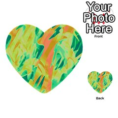 Green and orange abstraction Multi-purpose Cards (Heart)