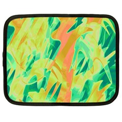 Green and orange abstraction Netbook Case (Large)