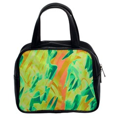 Green and orange abstraction Classic Handbags (2 Sides)