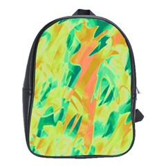 Green and orange abstraction School Bags(Large)