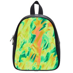 Green and orange abstraction School Bags (Small)