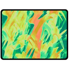 Green and orange abstraction Fleece Blanket (Large)