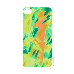 Green and orange abstraction Apple iPhone 4 Case (White)
