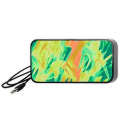 Green and orange abstraction Portable Speaker (Black)