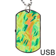 Green and orange abstraction Dog Tag USB Flash (One Side)