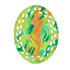 Green and orange abstraction Oval Filigree Ornament (2-Side)