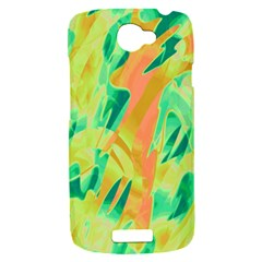 Green and orange abstraction HTC One S Hardshell Case