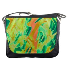 Green and orange abstraction Messenger Bags