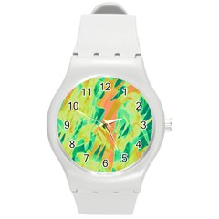 Green and orange abstraction Round Plastic Sport Watch (M)