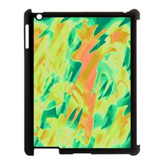Green and orange abstraction Apple iPad 3/4 Case (Black)